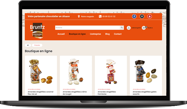 Création du site e-commerce de la chocolaterie bruntz